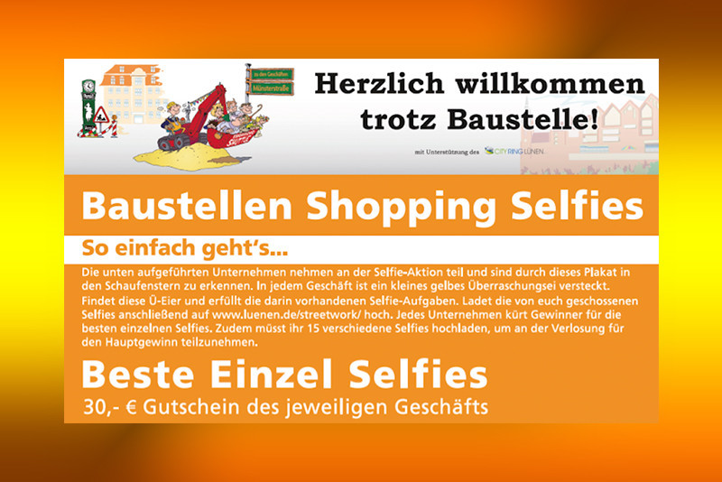 Baustellen-Shopping-Selfie-Aktion